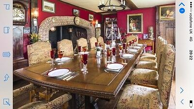 Very Large Oak Dining Table and 16 Chairs  Owned by Sir Tom Jones