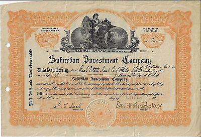 NEW JERSEY 1920 Suburban Investment Company Stock Certificate