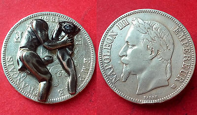 5 francs NAPOLEON III satirique erotique erotic 1868 BB argent