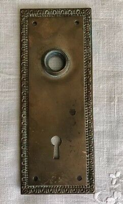 Vintage Door Knob Back Plate Escutcheon Skeleton Key Copper/Brass? Non-Ferrous