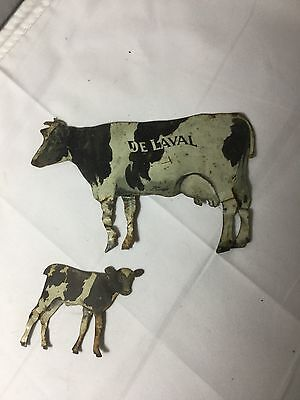 Vintage Old Tin Advertising Delaval De Laval Cream Separator Milk Cow Promo's