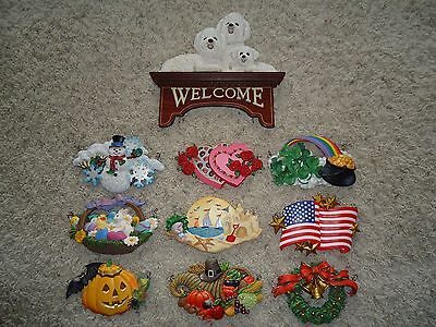 Danbury Mint The Bichon Frise Welcome Sign & 9 Festive Plaques