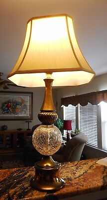 """Vintage Mid Century Crackle Glass Brass Table Lamp 27"""" ~ Works Great!"""