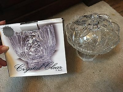 """Vintage Clear Crystal Footed Lidded Bowl Candy Dish 5"""""""