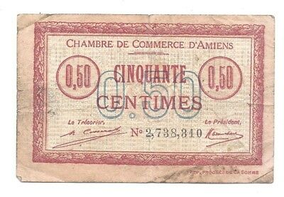 france chambre de commerce 50 centimes vf banknote amiens