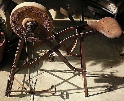 Antique Vintage R W Foot Pedal Tool Knife Axe Sharpener Grinder