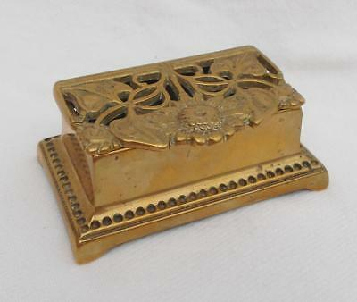 Vintage French Art Nouveau Style Brass SUNFLOWER DESIGN STAMP BOX Desk Nib Tidy