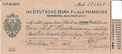 Deutche Bank Filiale  HAMBURG  Scheck  Guthaben 1923  Inflation 150.000 Mark