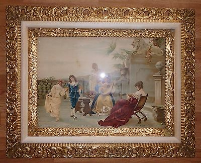 LG Antique 1890s Gold Gilt Carved Wood PICTURE FRAME w Crosio Chromolithograph