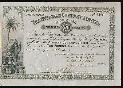 The Ottoman Company Limited  1865  Original  Aktie 20 Sterling Turkey  Türkiye