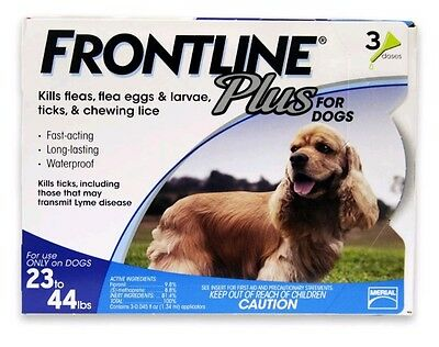 Frontline Plus Flea and Tick Control for 23 to 44-Pound Dogs 03 Doses