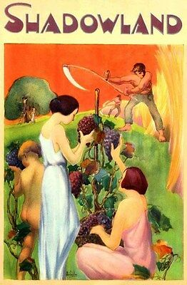 1923 Shadowland Harvest Season Wine Arts Craft Art Deco Hopfmuller Poster 317365
