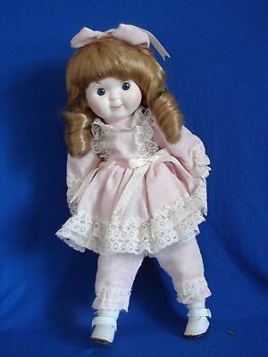 """Porcelain Doll 13"""" Tall Country Girl  Red Hair Pink Dress Leggings Collictible"""
