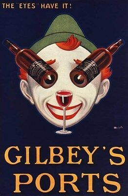 1927 Gilbeys Port Wine Brewery Clown Act Restaurant Comic Art Poster 318779