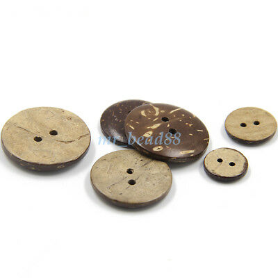 50Pcs Brown Coconut Shell 2 Holes DIY Sewing Buttons Scrapbooking 11-25mm Dia
