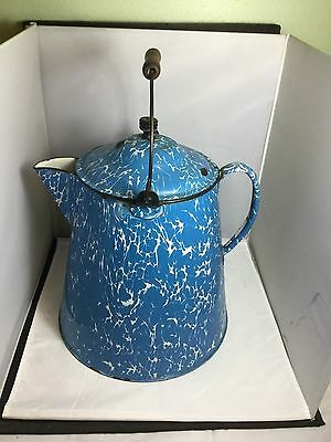 Large Neat Blue&white Swirl Graniteware Coffie Pot With Lid Wood Handle