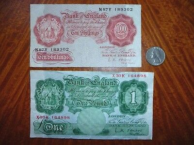 Lot of 2 Bank Notes England 1955-60 10 Shillings/1 Pound Signed by L.K. O'Brien