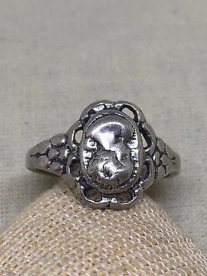Vintage Sterling Silver Cameo Ring Size 7 1/4 3-3