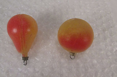 2 Vintage Small Unsilvered Glass Fruit Christmas Ornaments Pear & Peach