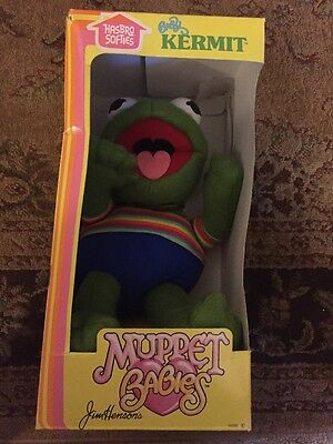 "1983 HASBRO Softies Muppet Babies 11"" Plush Baby Kermit Vintage Stuffed Toy"