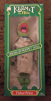 Vintage Dress Up Kermit The Frog Fisher Price Muppet Doll #857 New In Box