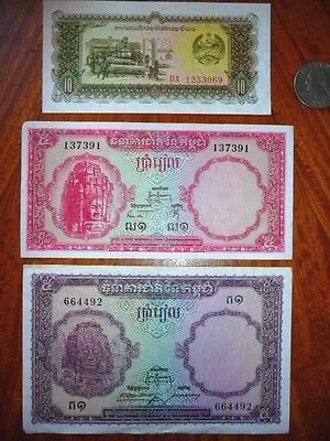 Lot of 3 Bank Notes Cambodia/Laos  Extremely Fine to About Uncirculated