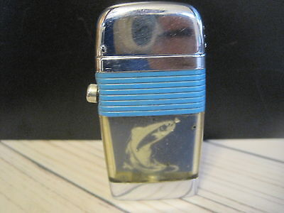 Vintage Scripto Vu Lighter Rainbow Trout Fish Juming For Fly Teal Blue Band