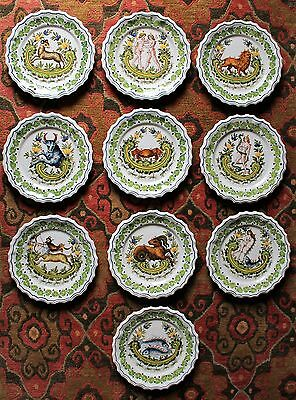 Set of 10 Handpainted Majolica Astrological Plates (Bassano-Italy Maker c. 1950)