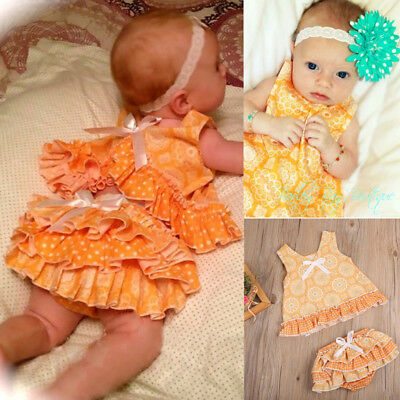 Infant Baby Girl Clothing Set T-Shirt Tops Ruffle Short Pants Outfit 18-24M CC05