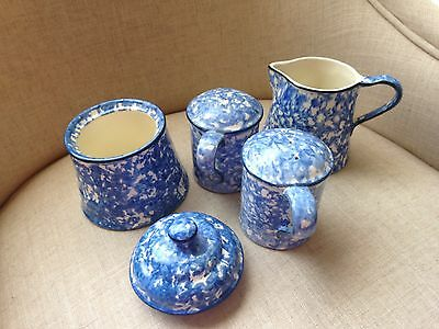 Stangl Town & Country Blue Spongeware 5 Pieces