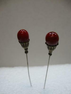 Antique Vintage Period Hatpin - Red Marble Type Stones - Lot of 2