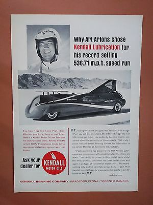1965 Art Artons Kendall Motor Oils Bonneville Speed Record Car photo print ad