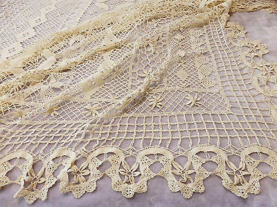 Large Heavy Bobbin Cluny Lace Tablecloth or Bedspread-96""