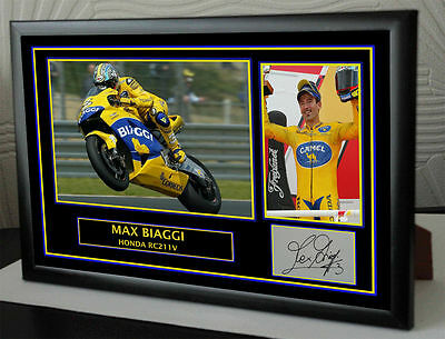 Max Biaggi Signed Tribute Framed Great Gift