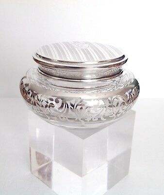 Roden Brothers Silver Overlay Powder Jar With Sterling Silver Lid