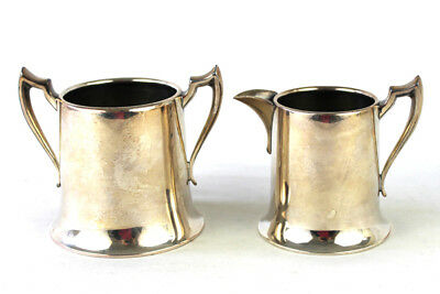Vintage National Silver Company Silver On Copper Creamer And Sugar Bowl
