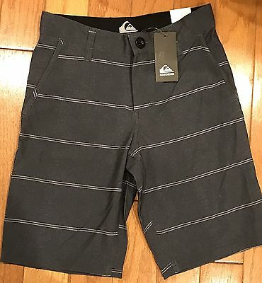 NWT Quiksilver Boys Board Shorts Swim Bathing Suit Gray White Stripes Size 8