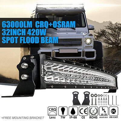 """32"""" 420W Curved Led Light Bar Spot Flood Work 4X4 Off Road Truck For Jeep 30/34"""""""
