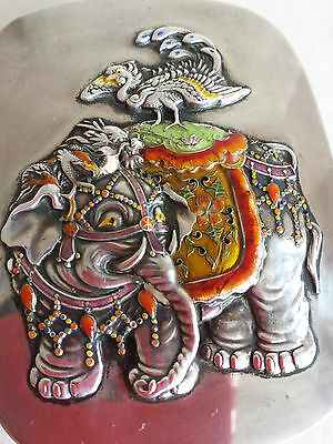 Outstanding Silver Enamelled Elephant and bird Box/Case Japanese Meiji Period