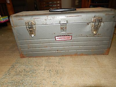 """Vintage crown logo Craftsman 20"""" Metal Tool Box Chest w/ Pull Out Tray #6512 USA"""