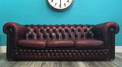 Vintage Old Superior Quality Leather Burgundy Three Seater Chesterfield Sofa