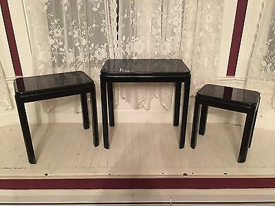 Vintage Mid Century Set of 4 Black Lacquer Solid Wood Nesting Side Tables