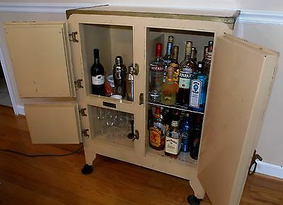 Vintage Metal White Steel Crystal Refrigerator Company Ice box