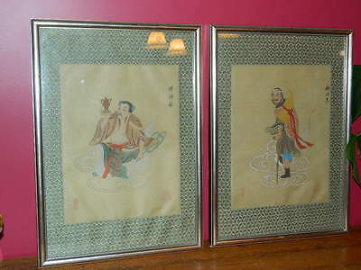 Vintage Chinese Silk Paintings Set Of Two Man Sitting & Man With Cane 11 X 14
