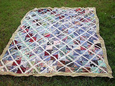"Vintage 1940's Quilt Top FEEDSACK Remnants Fabric Quilt~ 84""x 76"" -Hour Glass"