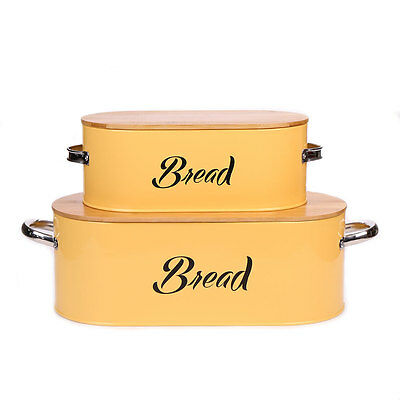 X560 Metal Yellow Bread Box Bin Sets With Bamboo Lid  Food Container Keeper New
