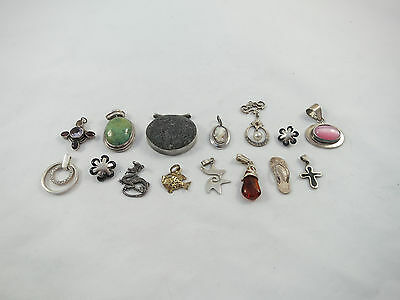 Various lot of 15 silver sterling pendants- over 70 grams