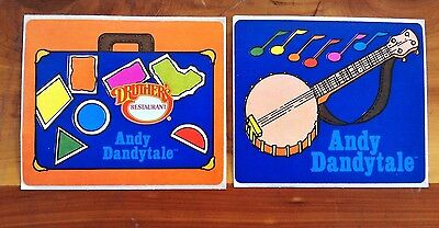 2 Different Druther's Restaurant Andy Dandytale Stickers Decals Vintage Lot