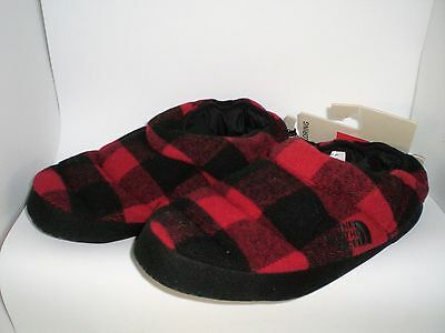The North Face Mens Slippers, Size Xlarge 12-14 Red & Black Check New With Tag
