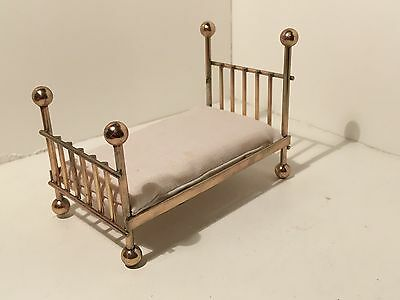 Dollhouse Miniatures Vintage Small Brass Bed and Removable Mattress #35